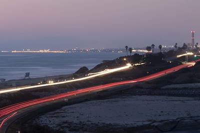 Ponto Beach and Hwy 101 with the Carlsbad power plant and Oceanside Pier in the background. 2/17/2015