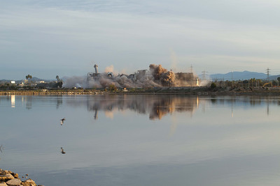 20130202-IMG_2929 Implosion of the South San Diego Bay Power Plant with reflection in one of the Ponds of the Salt Works next door.