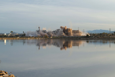 20130202-IMG_2932 Implosion of the South San Diego Bay Power Plant with reflection in one of the Ponds of the Salt Works next door.