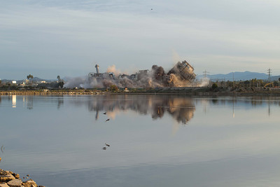 20130202-IMG_2923 Implosion of the South San Diego Bay Power Plant with reflection in one of the Ponds of the Salt Works next door.
