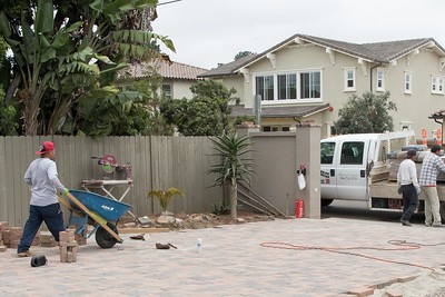 Paver work ongoing for back driveway