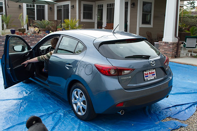 Perry heading out in his new wheels, Mazda 3 Hatchback 5/25/2015